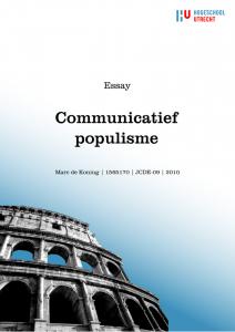 20101026_Essay_Communicatief_populisme_voorblad